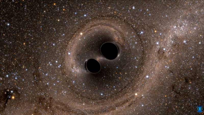 Figure 1. Computer simulation of the collision of two black holes.