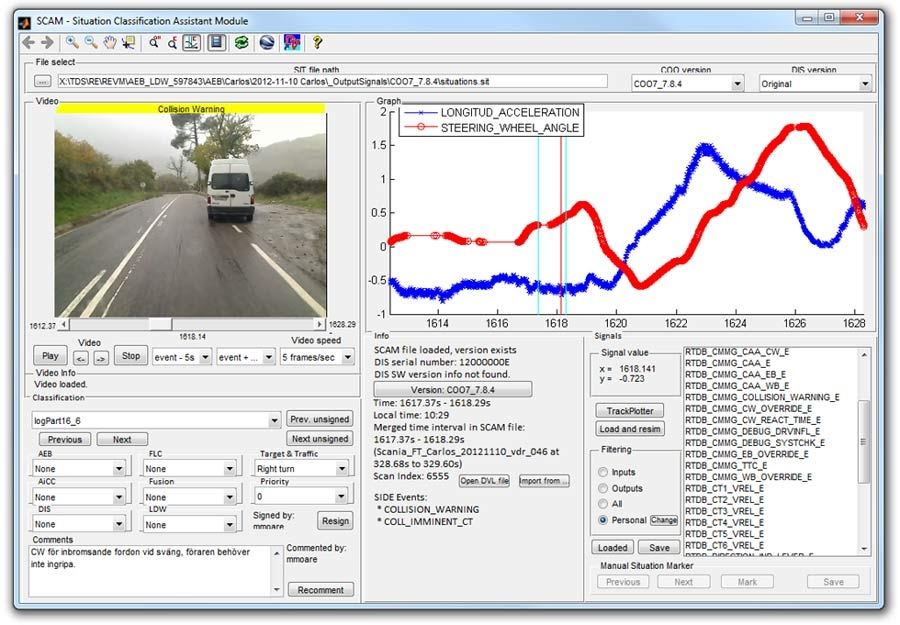Figure 5. The Situation Classification Assistant Module, a MATLAB based tool for processing logged ECU data and automatically identifying situations relevant to emergency braking.