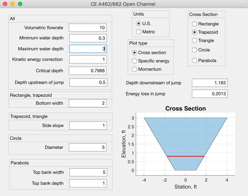 Figure 2. MATLAB app for calculating open channel flow.