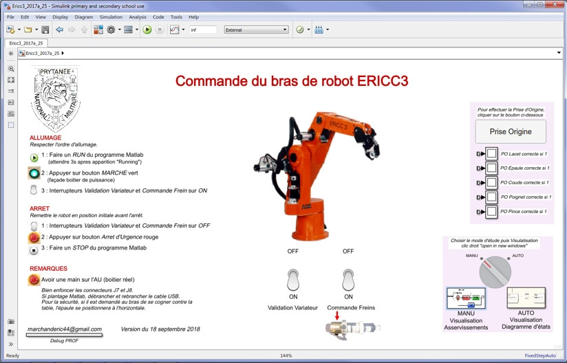 Figure 3. Simulink interface for controlling the ERICC3 robot, including start-up and shut-down procedures.