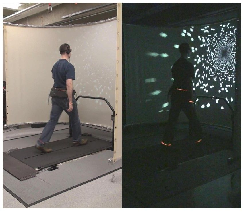 The experimental setup with lights turned on to show the treadmill and projection screen (left) and with lights turned off to show the virtual hallway (right).
