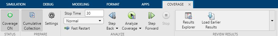 Figure 3. Coverage Analyzer app with coverage collection enabled.