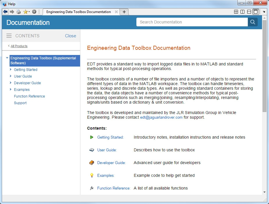 The documentation for Engineering Data Toolbox. EDT is an example of a professional-grade in-house toolbox, including comprehensive documentation and examples.