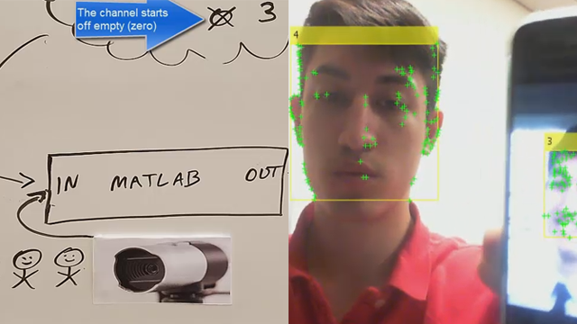 Utilize a USB webcam and Computer Vision Toolbox™ to detect faces within a video feed. The ThingSpeak™ IoT platform is used to track the number of people by transferring data to the cloud.
