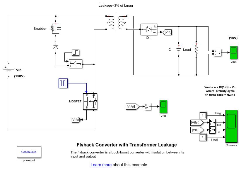 Flyback Converter with Transformer Leakage - MATLAB ... on power schematic, nautilus schematic, audio schematic, capacitor schematic,