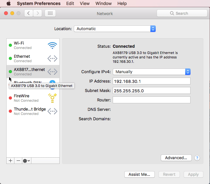 Configure Ethernet Connection Manually on Mac - MATLAB