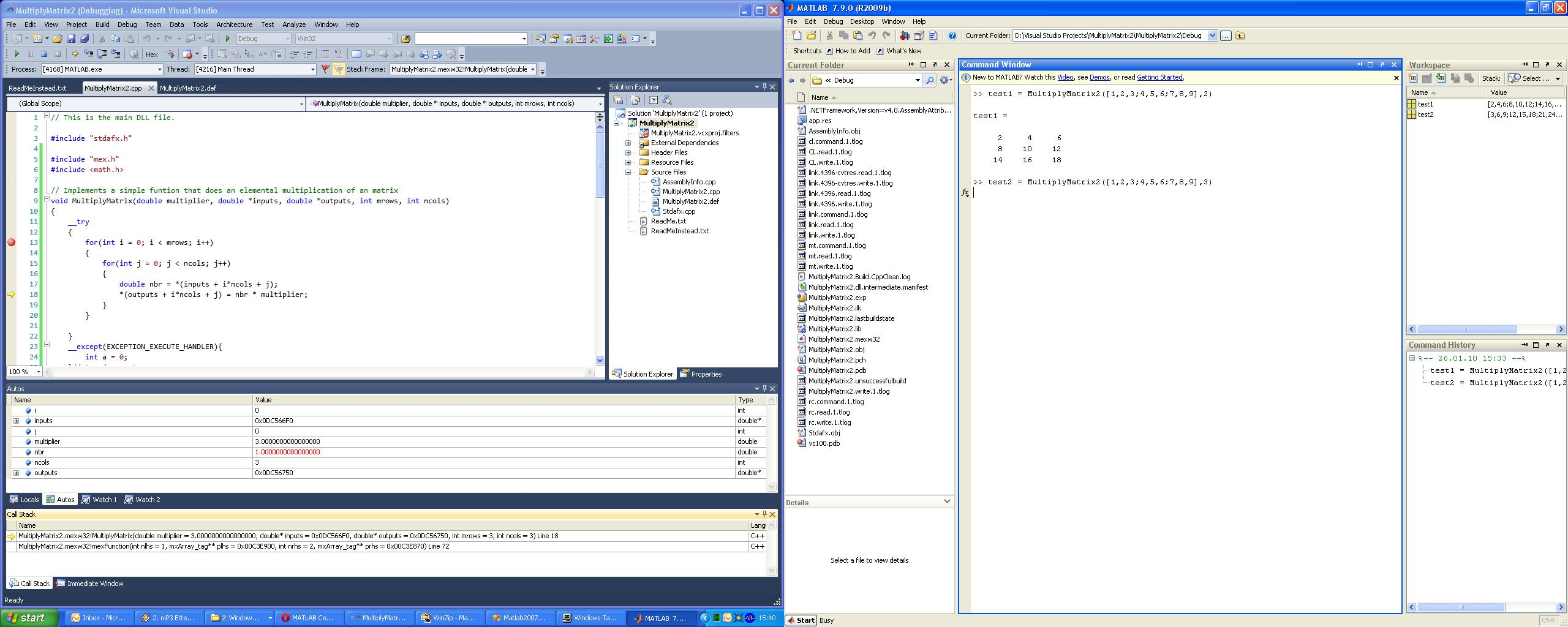 Example: Making and debugging mex with Visual Studio 2010