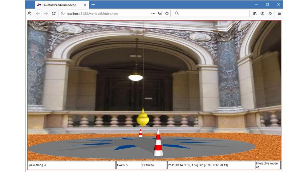 Animación 3D de un péndulo de Foucault en un navegador compatible con HTML5.