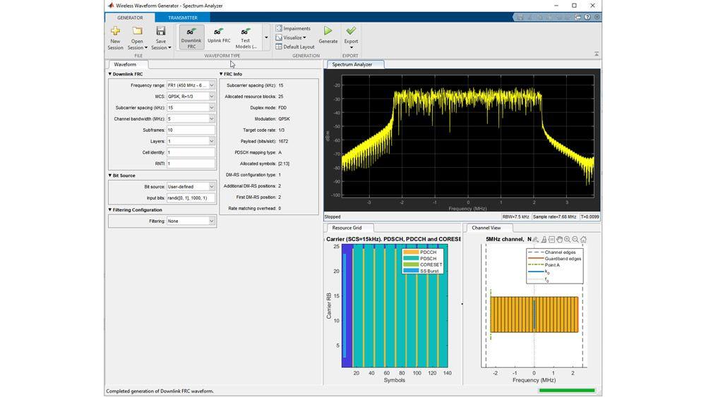Generación de modelos de prueba utilizando la app Wireless Waveform Generator.