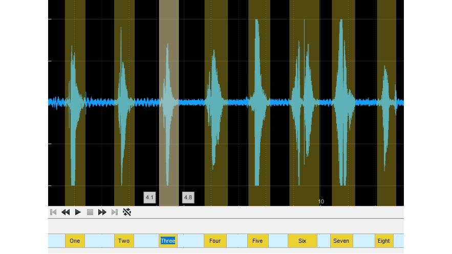 Etiquetas de región de interés en la app Audio Labeler.