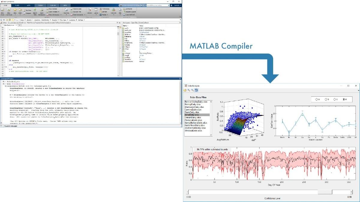 Aplicación de análisis solar creada en MATLAB y empaquetada para uso compartido mediante MATLAB Compiler.