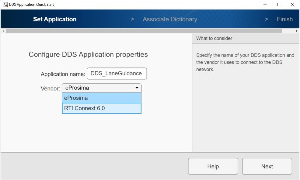 DDS Application Quick Start: selección proveedor eProsima y RTI Connext