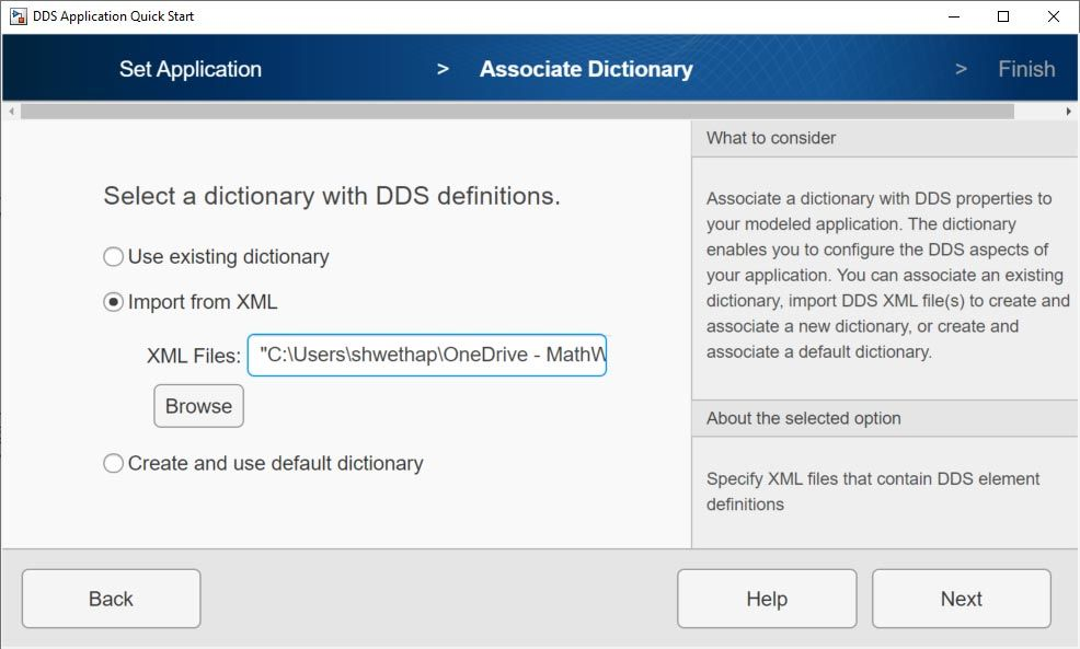 Interfaz para importar un archivo XML.