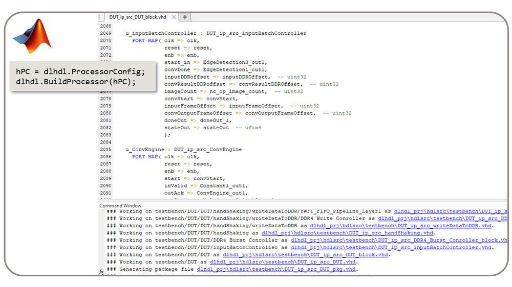 La clase dlhdl.BuildProcessor genera RTL sintetizable a partir del procesador de deep learning personalizado.