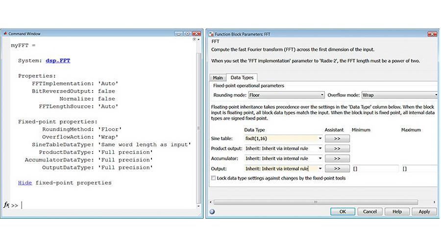Propiedades de FFT para tipos de datos en punto fijo