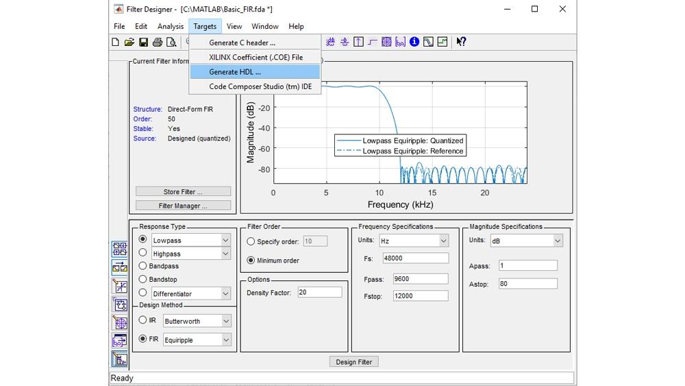 Configure y cuantice un filtro y, después, inicie la interfaz de usuario de generación de código HDL para generar código VHDL o Verilog sintetizable.