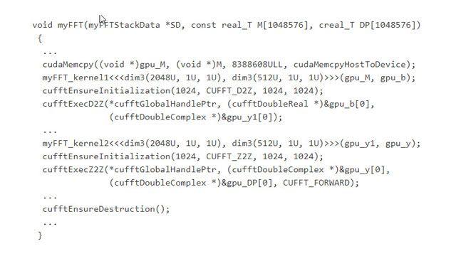 Funciones de llamada de código generadas en la librería CUDA cuFFT optimizada.