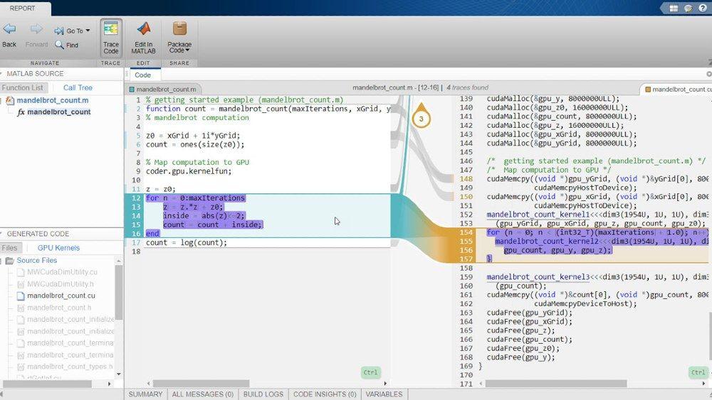 Informe de trazabilidad interactivo utilizando GPU Coder con Embedded Coder.