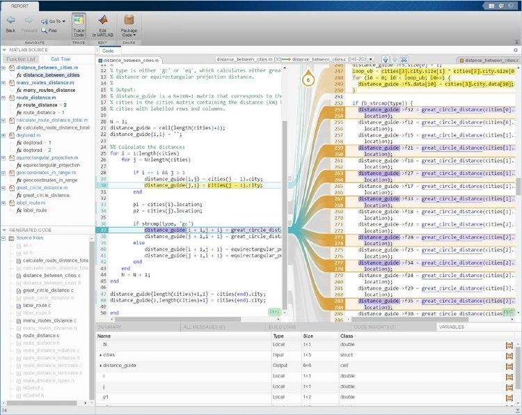Informe de trazabilidad interactivo mediante el uso de MATLAB Coder con Embedded Coder.