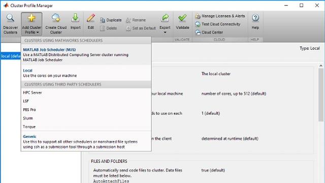 Adición de perfiles de cluster a MATLAB para permitir el acceso a los recursos disponibles en el cluster.