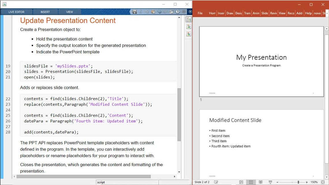 Actualice el contenido de las presentaciones desde MATLAB.