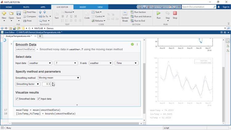 Las tareas de Live Editor son apps que se pueden embeber en un script en tiempo real y que permiten explorar interactivamente los parámetros y las opciones, ver inmediatamente los resultados y generar automáticamente el código MATLAB correspondiente para la tarea completada.