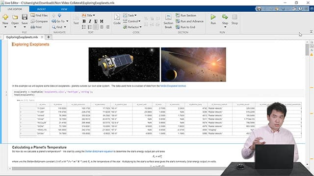 Demostración en tiempo real de las funcionalidades de Live Editor, que incluyen crear un cuaderno, compartir el trabajo con otras personas y escribir código con más rapidez.