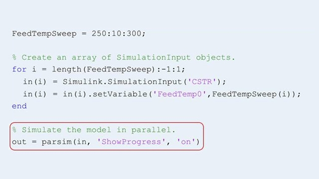 Utilice la función parsim para ejecutar varias simulaciones en paralelo.