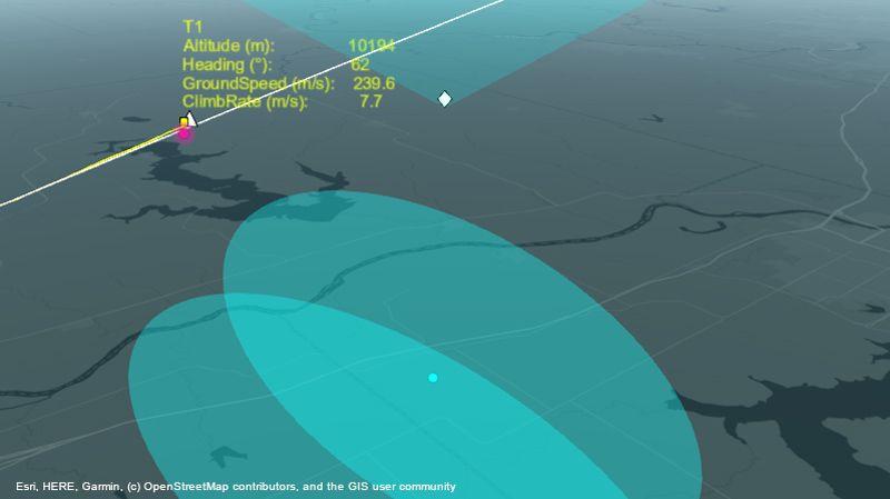 Sistema de radar realizando el seguimiento de un avión en ruta.