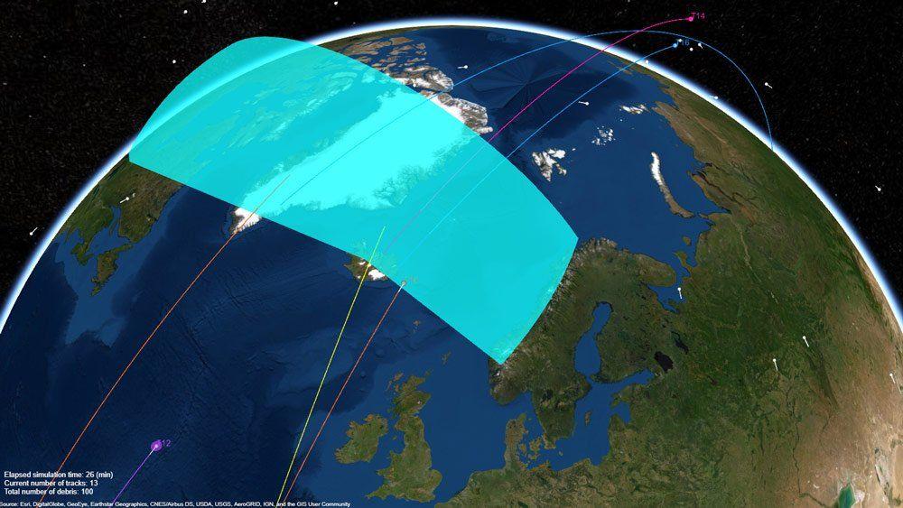 Sistema de radar realizando el seguimiento de desechos espaciales en la órbita terrestre.