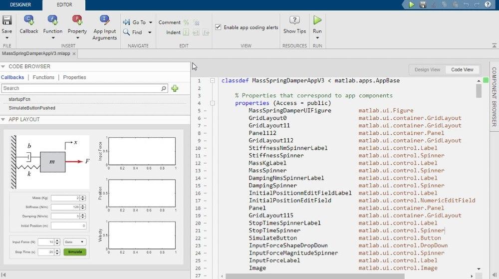Utilice App Designer para diseñar una interfaz gráfica de usuario de la app de simulación