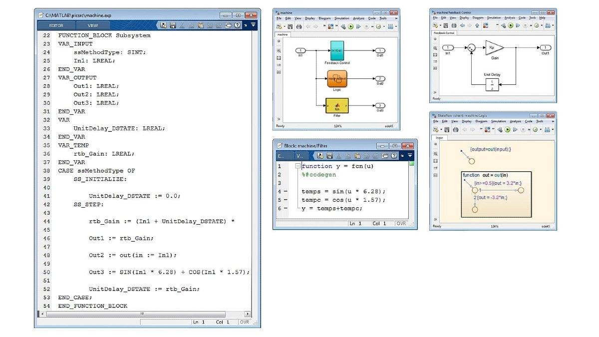 Ejemplo de texto estructurado optimizado. Simulink PLC Coder genera código optimizado y bien integrado para Simulink, Stateflow y funciones de MATLAB.