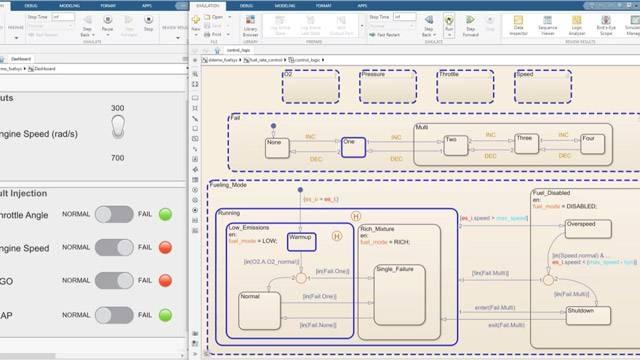 Podrá revisar las simulaciones paso a paso y controlar los datos en un diagrama de estado.