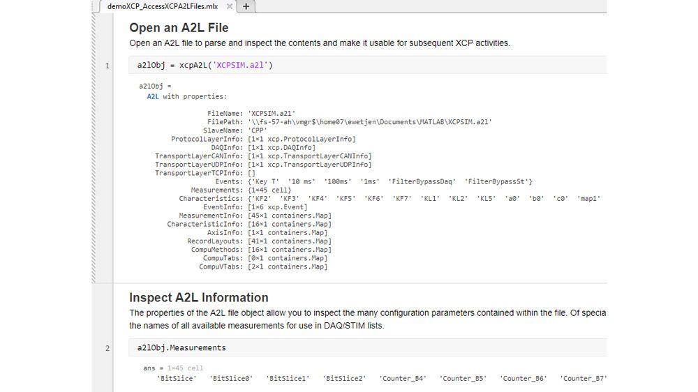 Función de MATLAB para analizar e inspeccionar un archivo A2L.