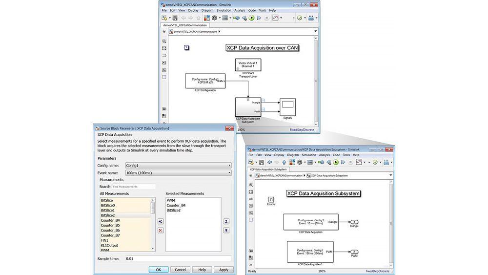 Modelo de Simulink y una máscara de bloques XCP Data Acquisition para configurar la captura de datos XCP.
