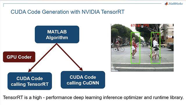 Genere código CUDA a partir de una red neuronal profunda entrenada en MATLAB y utilice la librería TensorRT de NVIDIA para la inferencia en GPU de NVIDIA utilizando una aplicación de detección de peatones como ejemplo.