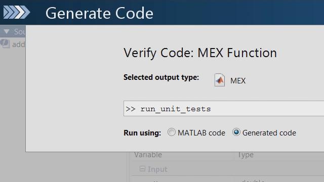 Utilice el marco de pruebas unitarias de MATLAB para comprobar si los cambios en su código de MATLAB provocan fallos en las pruebas unitarias del código C generado por MATLAB Coder.