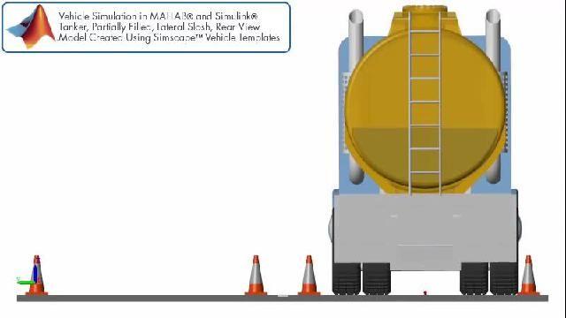 Simulación de sloshing lateral en un remolque cisterna observado desde atrás.