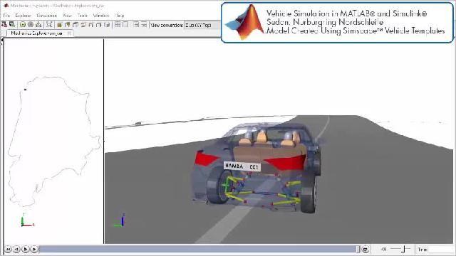 Vea la animación de una simulación de una pista de carreras con Simscape.