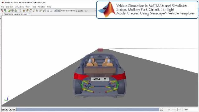 Vea la animación de una simulación de conducción autónoma con Simscape.