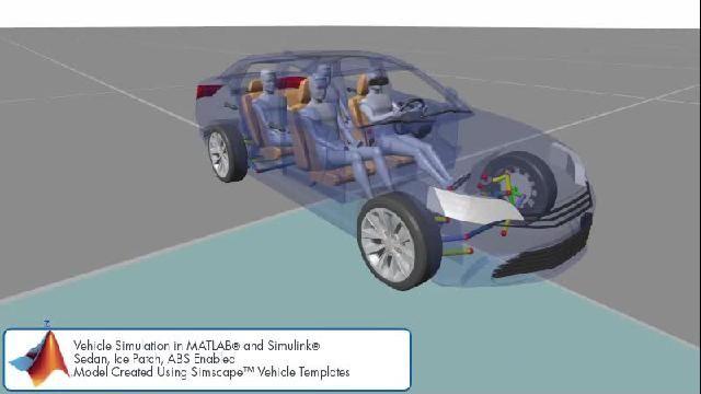 Vea la animación de una simulación de sistemas de control del chasis con Simscape.