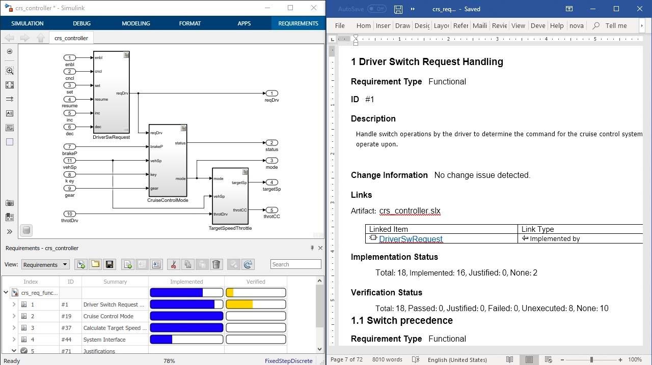 Documente sus requisitos para posibilitar su revisión con informes de Simulink Requirements e incluya los atributos, el estado y la trazabilidad de los requisitos para el diseño, código y texto.