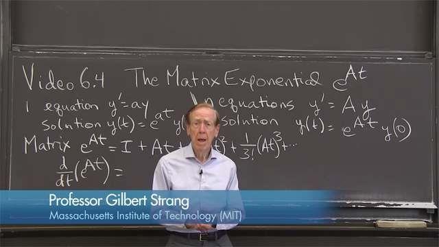 The shortest form of the solution uses the matrix exponential <strong>y</strong> <em>= e<sup>At</sup></em> <strong>y</strong><em>(0)</em>. The matrix <em>e<sup>At</sup></em> has eigenvalues <em>e<sup>λt</sup></em> and the eigenvectors of <em>A.</em>