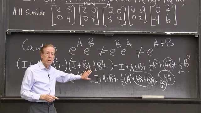 """<em>A</em> and <em>B</em> are """"similar"""" if <em>B</em> = <em>M<sup>-1</sup>AM</em> for some matrix <em>M</em>.&nbsp;<em>B</em> then has the same eigenvalues as <em>A</em>."""