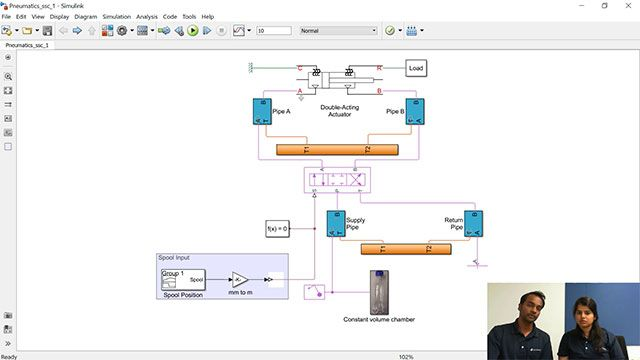 Veer and Maitreyee show how you can model a pneumatic system by using physical blocks available in Simscape.
