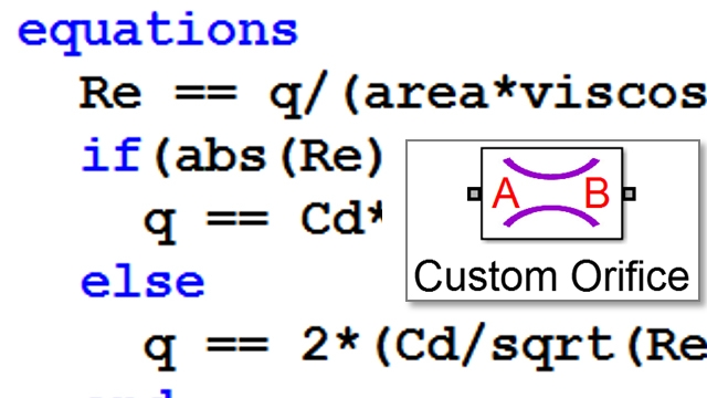 Model a custom hydraulic orifice. Simscape extensions to MATLAB are used to define implicit equations.