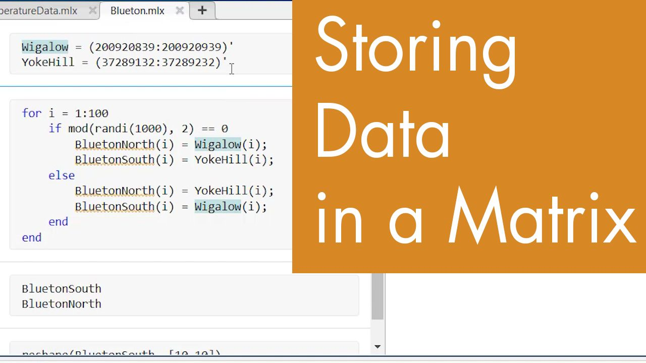 Do you need a for loop to populate a matrix? In this video step through a few different ways to store data in a matrix in MATLAB with and without for loops.