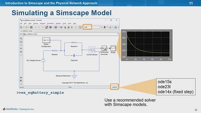 Concepts of plant modeling with Simscape and the physical network approach are explored in this training session. Using a battery model, you'll learn how to build and simulate a model in Simscape.
