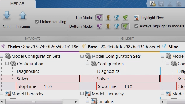 Resolve conflicts between revisions and ancestor models using Simulink Projects.